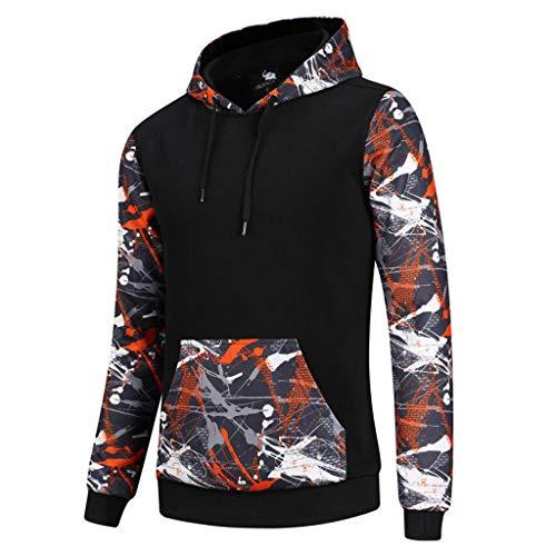 Sweat-Shirts Homme,FNKDOR Hommes Automne Hiver Pulls T-Shirt Mode Impression Sweat à Capuche Manches Longues Sport Blouse Tops Hauts(A Orange,M)