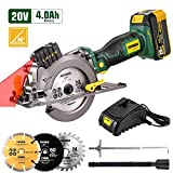 POPOMAN Cordless Circular Saw, 4.0Ah 20V 4,500RPM Saw with Laser, 3 Blades(4-1/2'), Fast Charger,...