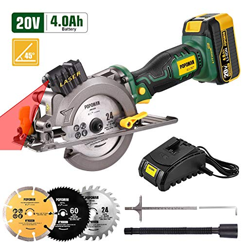 POPOMAN Cordless Circular Saw, 4.0Ah 20V 4,500RPM Saw with Laser, 3...