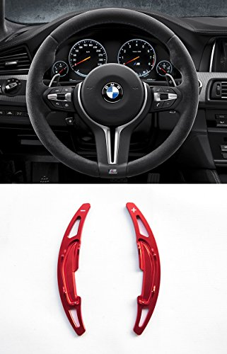 Pinalloy Red Alloy Steering Wheel Paddle Shifter Extension for BMW M3 M4 M5 M6