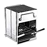 Zento Deals Wood Burning Folding Camp Stove, Stainless Steel, Emergency Foldable Grill Survival, Easy to Carry, Large Portable Backpacking for Hiking Camping and BBQ, Grilling, Cooking, and Reheating