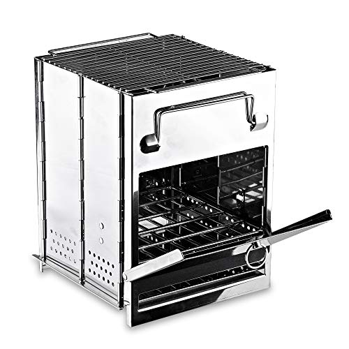 Zento Deals Wood Burning Folding Camp Stove, Stainless Steel, Emergency Foldable Grill Survival,...