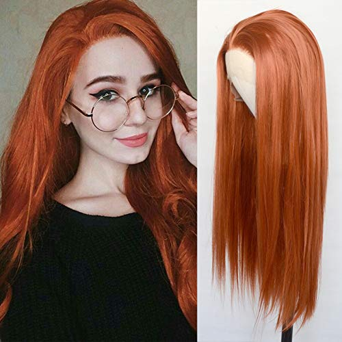 Luwigs #360 Copper Red Synthetic Lace Front Wigs Long Straight Ginger RedvHalf Hand Tied Replacement Wigs Heat Resistant Fiber Hair for Cosplay Daily Wear 22inch