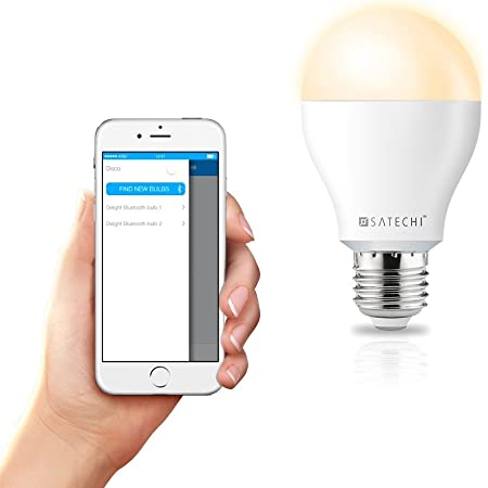 Satechi® サテチ IQ レインボー スマート LED電球 Bluetooth 4.0 8W (50W相当) (iPhone 7/6 Plus/6/5S/5C, iPod Touch 5G/4G, iPad Air 2/Air/Mini/3/2/1)