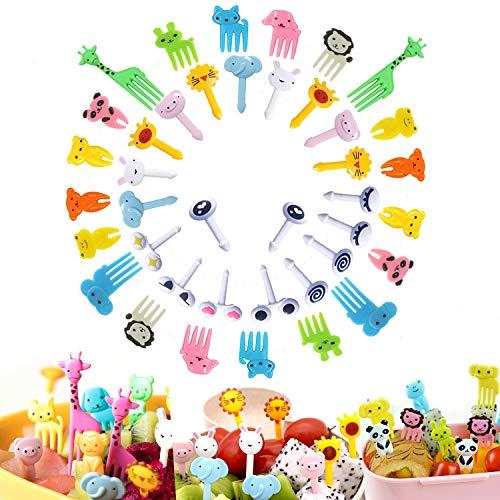 Food Picks 40PCS,Animal Fruit Picks,Bento Box Picks, LKAKA Mini Cartoon Animal Food Toothpicks, Lunch Bento Forks Picks for Kids
