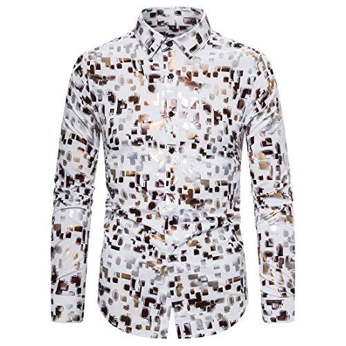 Mens Shirt Long Sleeve Dress Shirts Classic Work Casual Shirt Tops Comfy Shirts Stylish Modern Printed Funky Printed Shirt Fancy Unique Pattern Shirt M