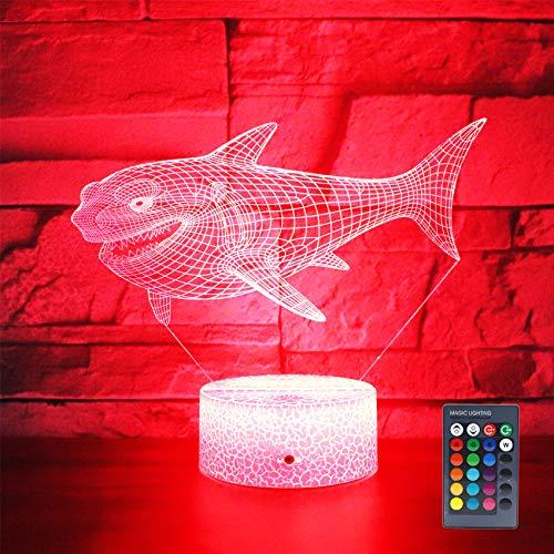 Hguangs Ideas de regalo lámpara de mesita de noche 16 colores mesa de escritorio luz de noche para niños niño niña fiesta suministros cumpleaños día de San Valentín niños amante, Shark03.
