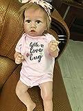 FLJUN 23 Inch Realista Saskia Muñecas Reborn Chica De Ojos Grises Muñeca Recién Nacida Silicona Completa Suave Natural Nutrir Muñecas Juguetes de Navidad para niños