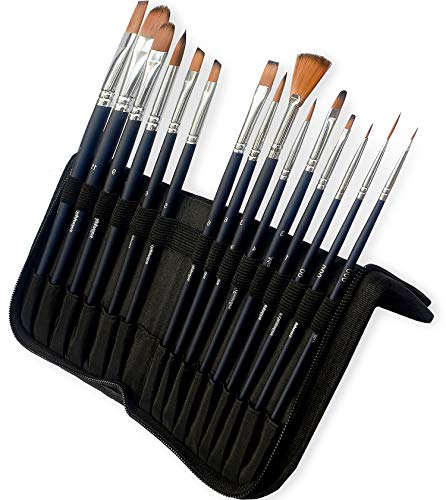 MozArt Supplies – Aquarellpinsel & Acrylpinsel Set mit 15 Synthetik Pinseln & Pinselhalter Tasche – Künstlerbedarf Malpinsel Set für Acrylfarbe & Aquarellfarbe in hochwertiger Premium Qualität