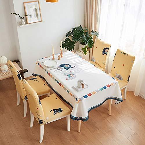Stuhlabdeckung 6-teiliges Set Nette Tiermuster-Stuhl-Abdeckung Strech Dining Chair Slipcovers Waschbare Abnehmbarer Polyester-Küche-Raum-Stuhl Sitzbezüge mit der gleichen Serie Tischdecke Stuhlhussen