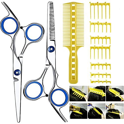 Haarschere Set(10PCS),Scharfe Friseurscheren friseur schere ausdünnen Haarschnitt Modellierschere mit Haarschneidewerkzeug Barber Haircutting Comb Set,Scherenschneider über Kamm für Männer und Frauen