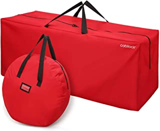 Cabilock Christmas Storage Bag Waterproof Oxford Cloth Heavy Duty Christmas Artificial Tree Storage Bag Xmas Holiday Storage Container with Wreath Storage Bag (Red)