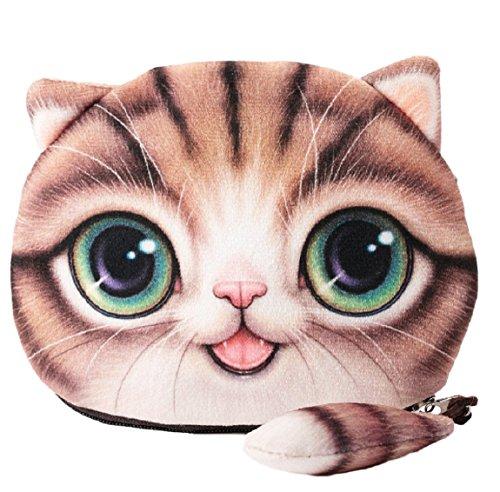 Flauschiger Geldbeutel Münzbörse Make-up- und Kosmetiktasche für junge Frauen und Mädchen Süßes Katzenmotiv Animal Print Katzenohren und Schwänzchen Reißverschluss (Braun)