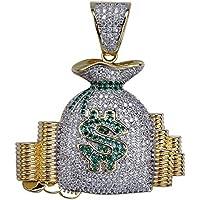 ANLW Hombres Hip Hop Collar Dólar $ Símbolo Dinero Bolsa Colgante Micro-Incrustaciones Zircon con 55 + 5cm Cadena-18k Oro Plateado Joyería para El Presente