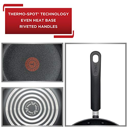 T-fal C561SC Titanium Advanced Nonstick Thermo-Spot Heat Indicator Dishwasher Safe Cookware Set, 12-Piece, Black