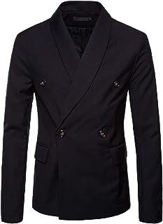 Mens Slim Fit Blazer Jacket Single Breasted Cotton Casual Jacket