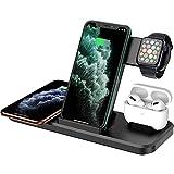 DOOK 4 En 1 Cargador Inalámbrico Rápido, Estación De Carga Rápida Qi Inalámbrica Soportes para iPhone SE 12 Pro/12 Pro Max/11/11 Pro, X/XR/XS Apple Watch Series 1/2/3/4/5 Airpods 2