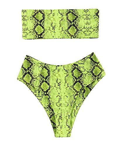 OMKAGI Women's 2 Pieces Bandeau Bikini Swimsuits Off Shoulder High Waist Bathing Suit High Cut(Large,Snakeprint-GR)