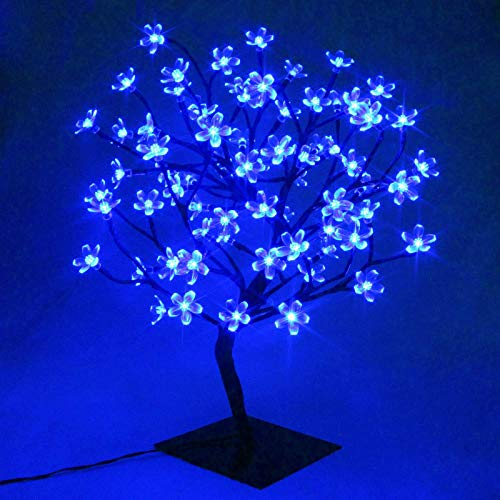 LXcom LED Cherry Blossom Bonsai Tree Light 18' 48 LEDs Plug-in Desk Top Bonsai Lighted Tree Artificial Crystal Flower Tree Table Lamp Black Branches AC110V for Home Decor Party Wedding, Blue