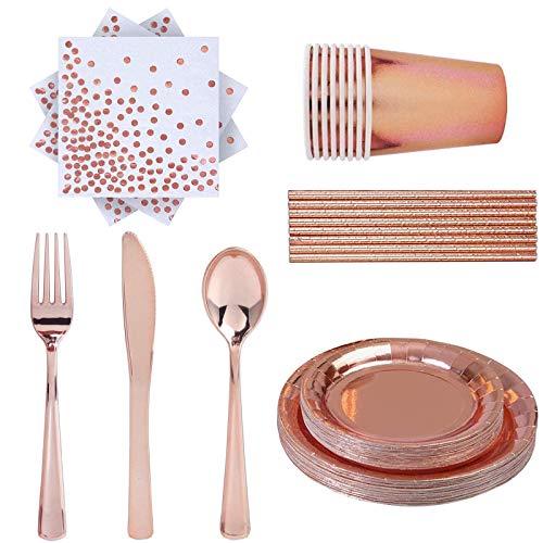 Wenlai 66 Piezas Vajilla Fiesta Oro Rosa, Cubiertos Desechables Oro Rosa, Vajilla Desechable Cumpleaños, Kit de Vajilla Desechable, para Fiestas, Bodas, Aniversarios, Decoraciones Cumpleaños