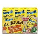NESTLE NESQUIK All Natural batido de fresa con leche y azúcar moreno de caña integral Sin Gluten pack 3 briks 180 ml