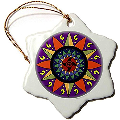 Bowen Rhodes Hex Sign 2 Pennsylvania Dutch Luck Protection Symbol Snowflake Porcelain Ornament, 3-Inch