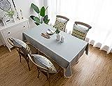 XQSSB Manteles de Mesa Rectangular Impermeable Sabana de Algodon para Salón Cocina Comedor Antimanchas Gris a 130 × 220cm