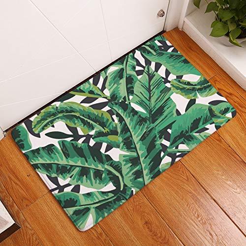 OPLJ Alfombra de Puerta de Entrada Decorativa con Estampado de Hojas de Palmera Alfombra de baño Antideslizante Alfombra de Cocina Absorbente Felpudo de Estilo Tropical A9 50x80cm
