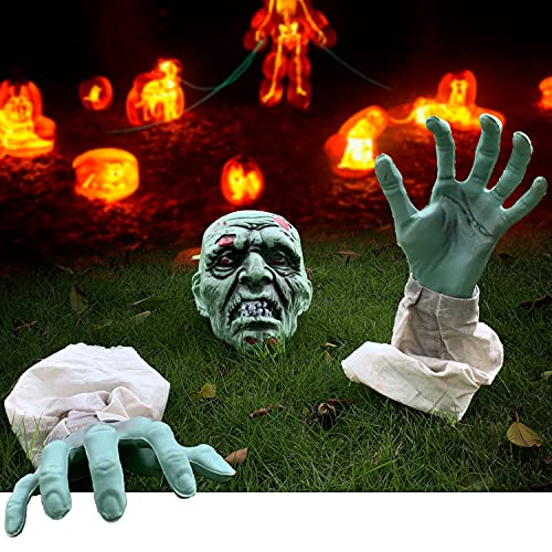 YaNovate Halloween Decorations, Scary Zombie Face and Arms with Removable Stakes for Outdoor Indoor...
