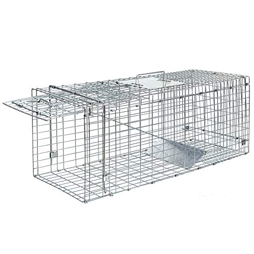 ANT MARCH Live Animal Cage Trap 32'' Steel Humane Release Rodent Cage for cat, Rabbits, Stray Cat,...