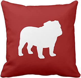 Emvency Throw Pillow Cover Pets White Bulldog Silhouette on Red Animals Decorative Pillow Case Home Decor Square 18 x 18 Inch Pillowcase