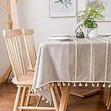 Furnily Rechteck Dekoration Tischdecke 140 cm x 200cm Baumwolle Leinen elegante Tischdecke mit Quaste Edge Staubdichte waschbare Küchentischabdeckung für Speisetisch (Leinen) - 3