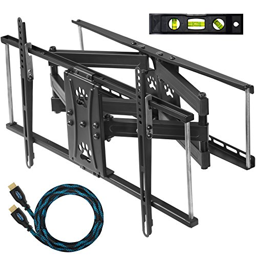 "Cheetah Mounts Dual Articulating Arm TV Wall Mount Bracket for 20-80"" TVs up to VESA 600 and 115lbs, fits 16"", 24"" Wall Studs and Includes a Twisted Veins 10' HDMI Cable & 6"" 3-Axis Magnetic Bubble"