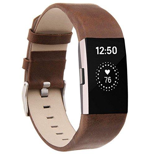 Techwills Echtes Lederarmband für Fitbit Charge 2, Herren Damen Armbänder Ersatzbänder (Mattbraun)