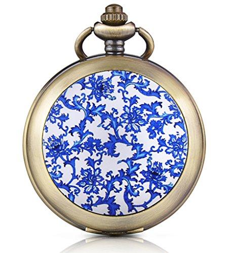 Infinite U Fashion Azul Flores Esqueleto mecánico Reloj de Bolsillo medallón Colgante Foto Mano Viento números Romanos Dial Negro Fob/Largo Cadena suéter Collar