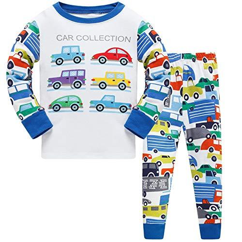 HIKIDS Jungen Schlafanzug Jungen Auto Langarm Zweiteiliger Schlafanzug Kinder Herbst Winter Bekleidung Nachtwäsche Pyjama Set 110