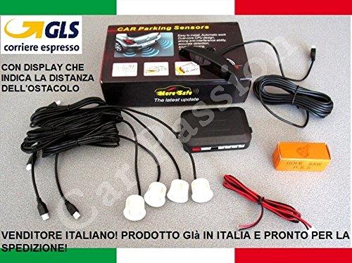 Kit de 4 capteurs de stationnement pour voiture, camionnette, camping car - Blanc - Peuvent être peints - Manuel en italien - Avec écran LED acoustique