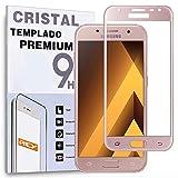 Protector de Pantalla Curvo para Samsung Galaxy A3 2017, Rosa, Cristal Vidrio Templado Premium, 3D / 4D / 5D