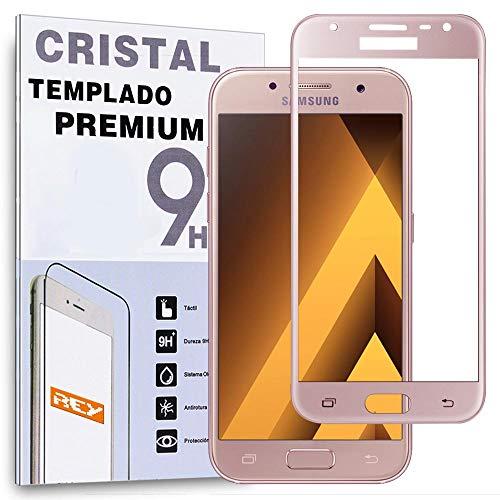 Protector de Pantalla Curvo para Samsung Galaxy A3 2017, Rosa, Cristal Vidrio...