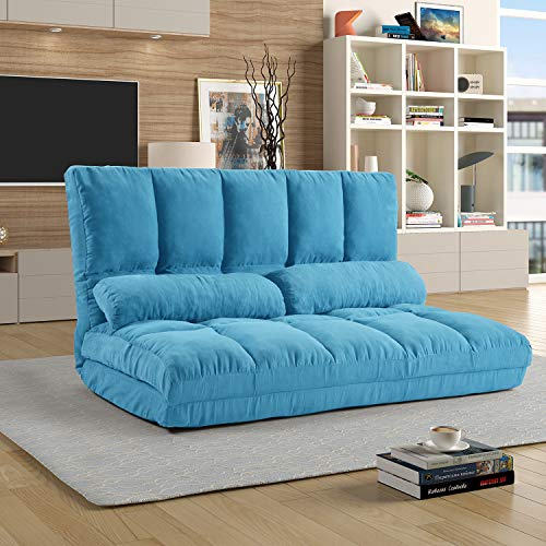 Lazy Sofa Bed Adjustable Floor Sofa, Foldable Gaming Sofa Mattress Futon Couch Bed with 2 Pillows (Blue)