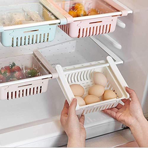 Moonmoonlala Organizador retráctil para nevera, 4 unidades, organizador de ahorro de espacio para nevera, organizador para guardar verduras y frutas, apto para estante de nevera de menos de 1,3 cm