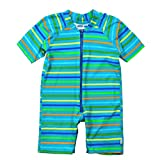 i play. by green sprouts baby girls infant and toddler swimwear sunsuits, Aqua Stripe, 24mo US