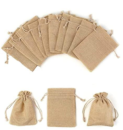 LATRAT - 10 bolsas pequeñas con cordón de tela, yute para peladillas,...