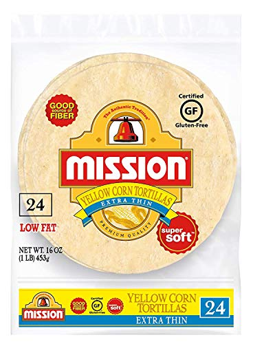 Mission Extra Thin Yellow Corn Tortillas, Gluten Free, Trans Fat Free, Small Soft Taco Size - 2 Packs