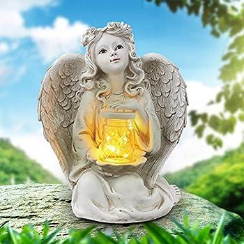 Sphinx Solar Angel Garden Statue Guardian Angel Solar Light Figurine Angel Decorations for Home Garden Decor for Outside Memorial Gifts