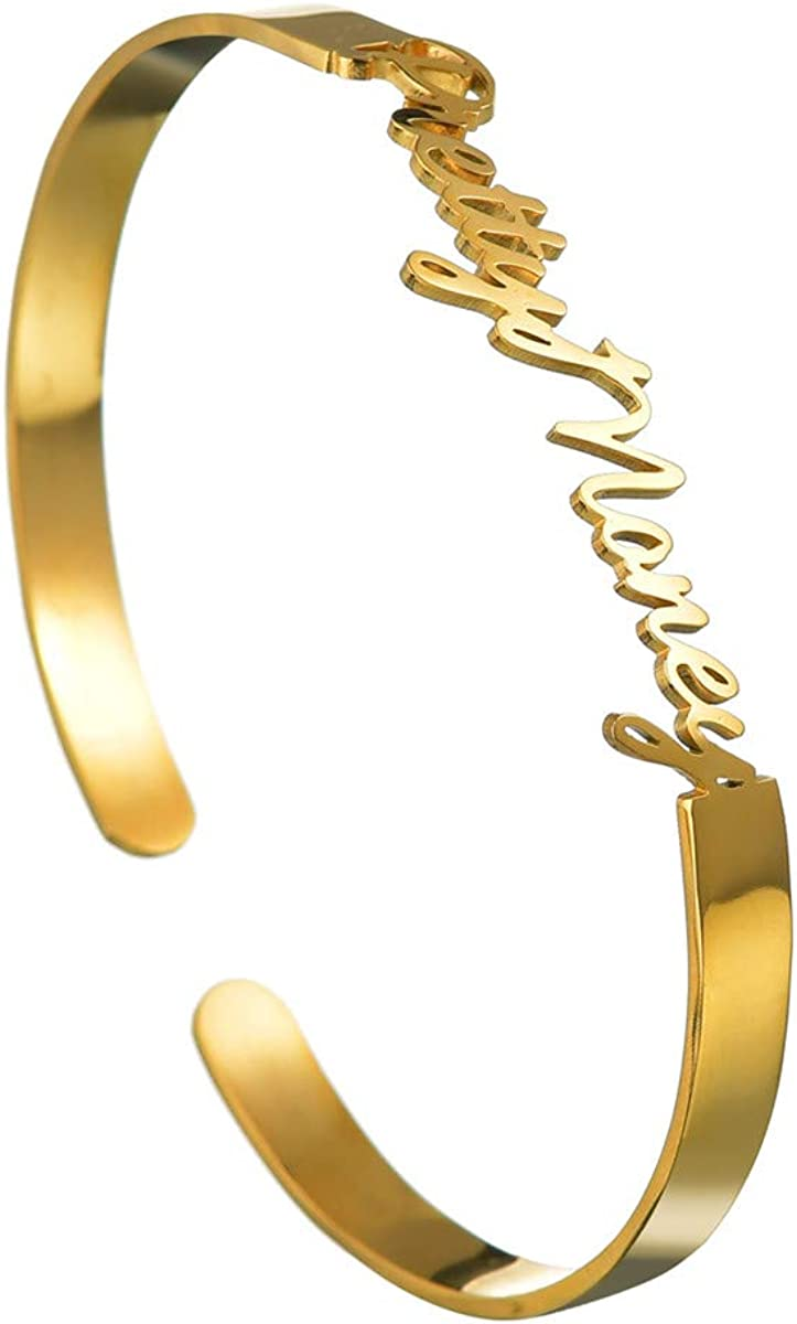 Custom Bracelets for Women Personalized Name Nameplate Cuff Bang
