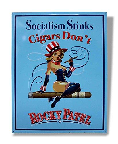 "Large 22 x 30 Rocky Patel ""Socialism Stinks Cigars Dont"" Metal Sign"