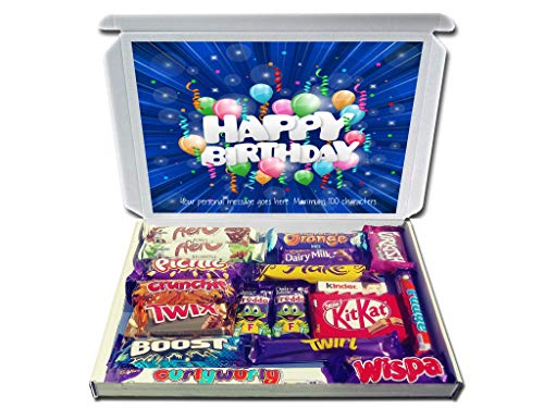 Personalised Happy Birthday Birthday Gift Hamper Chocolate Selection Box Bubbly Balloons