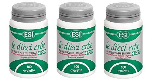 ESI – Le Diez Erbe + Forte 3 paquetes de 100 ovalados – Regularidad intestinal, depuración