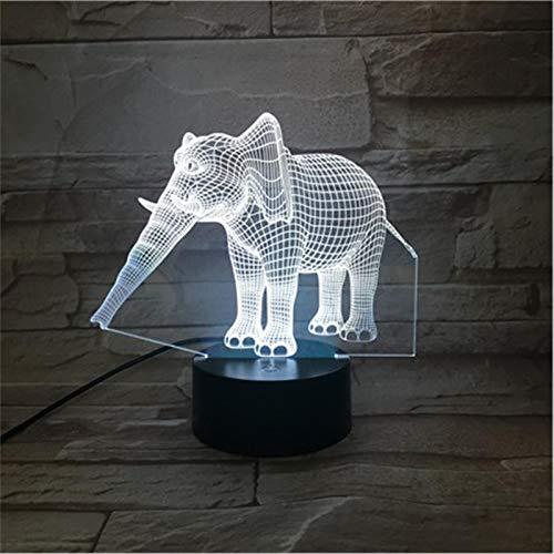 LBJZD nachtlicht Elephant Cool Geschenk Led Kreative Nachtlampe Acryl 3D Lichter Baby Schlafzimmer Tischlampe Mit Usb-Kabel Ohne Fernbedienung